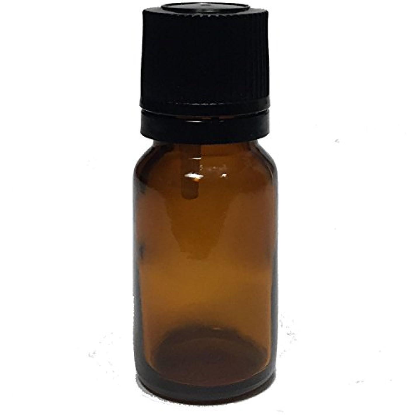 マリン速報懐エッセンシャルオイル用茶色遮光瓶 ドロッパー付き 黒キャップ 10ml ガラスビン 10本セット