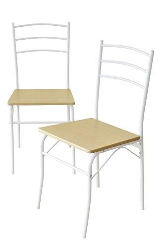 (DORIS) ダイニングチェア 2脚セット 【モーリス2点 ナチュラル】 椅子 チェア 木目調 スチール脚 組み立て式