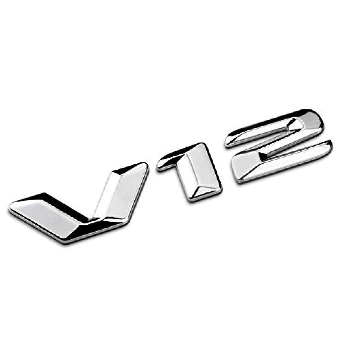 宇宙オークション混乱Jicorzo - 3D Silver Chrome Zinc alloy V12 Emblem Sticker Car Styling Decal Fender Trunk Badge For Mercedes Benz...