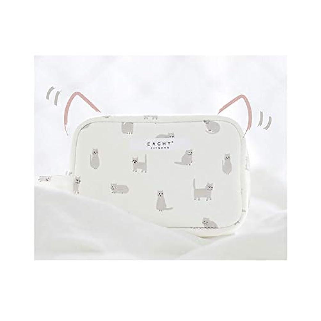 良心つまらない介入するNEOVIVA 化粧ポーチ コスメポーチ メイク収納バッグ かわいい 軽量 防水 旅行小物ポーチ 猫 ホワイト S
