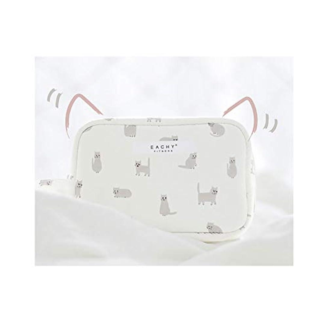 マイクロフォントピックドックNEOVIVA 化粧ポーチ コスメポーチ メイク収納バッグ かわいい 軽量 防水 旅行小物ポーチ 猫 ホワイト S
