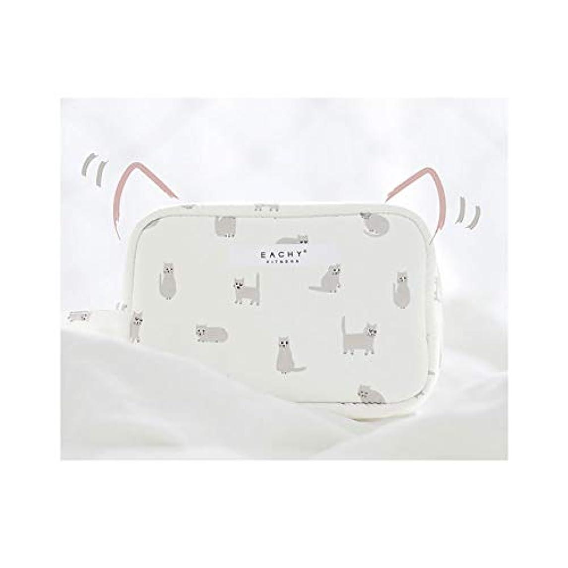 非常に検索エンジン最適化口述するNEOVIVA 化粧ポーチ コスメポーチ メイク収納バッグ かわいい 軽量 防水 旅行小物ポーチ 猫 ホワイト S