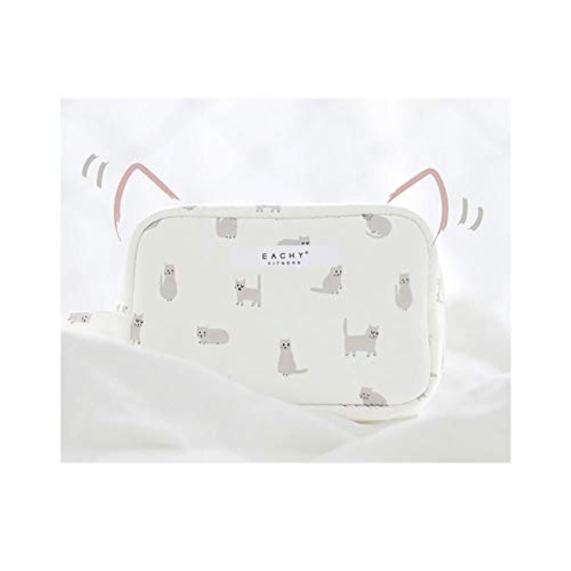 太いのぞき見先NEOVIVA 化粧ポーチ コスメポーチ メイク収納バッグ かわいい 軽量 防水 旅行小物ポーチ 猫 ホワイト S