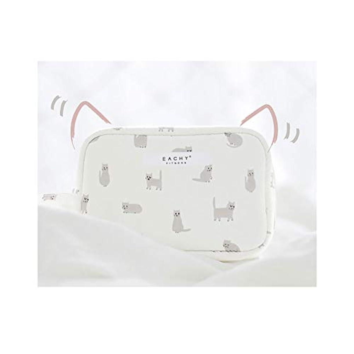 カジュアル植物学者送料NEOVIVA 化粧ポーチ コスメポーチ メイク収納バッグ かわいい 軽量 防水 旅行小物ポーチ 猫 ホワイト S