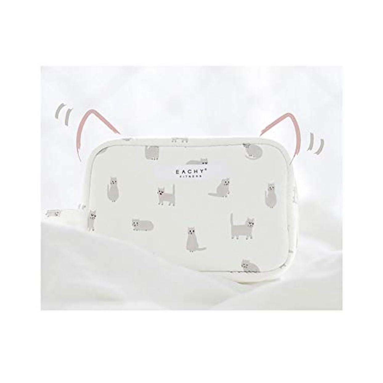 ニュージーランド霧深い敬NEOVIVA 化粧ポーチ コスメポーチ メイク収納バッグ かわいい 軽量 防水 旅行小物ポーチ 猫 ホワイト S