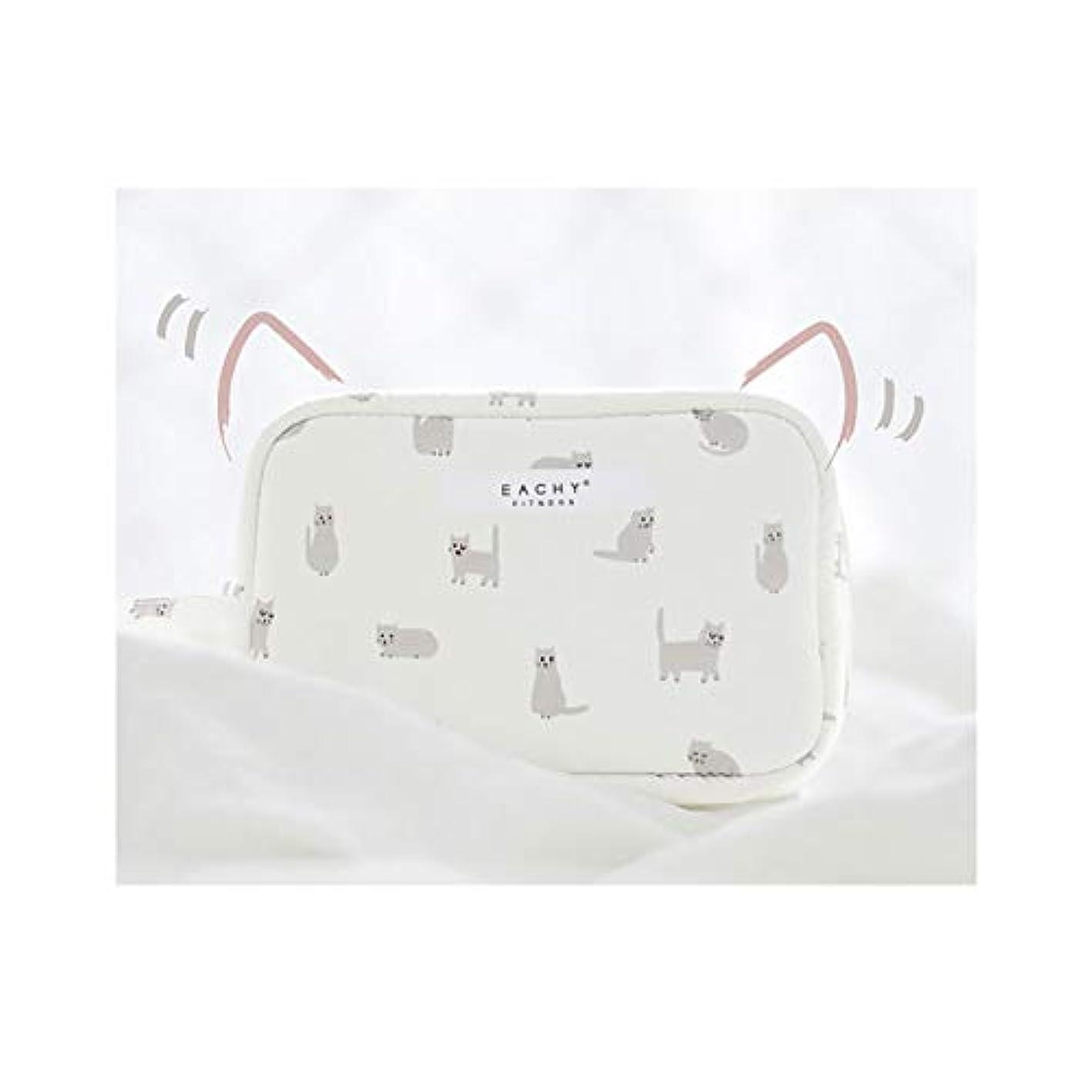 深さ観察正確にNEOVIVA 化粧ポーチ コスメポーチ メイク収納バッグ かわいい 軽量 防水 旅行小物ポーチ 猫 ホワイト S
