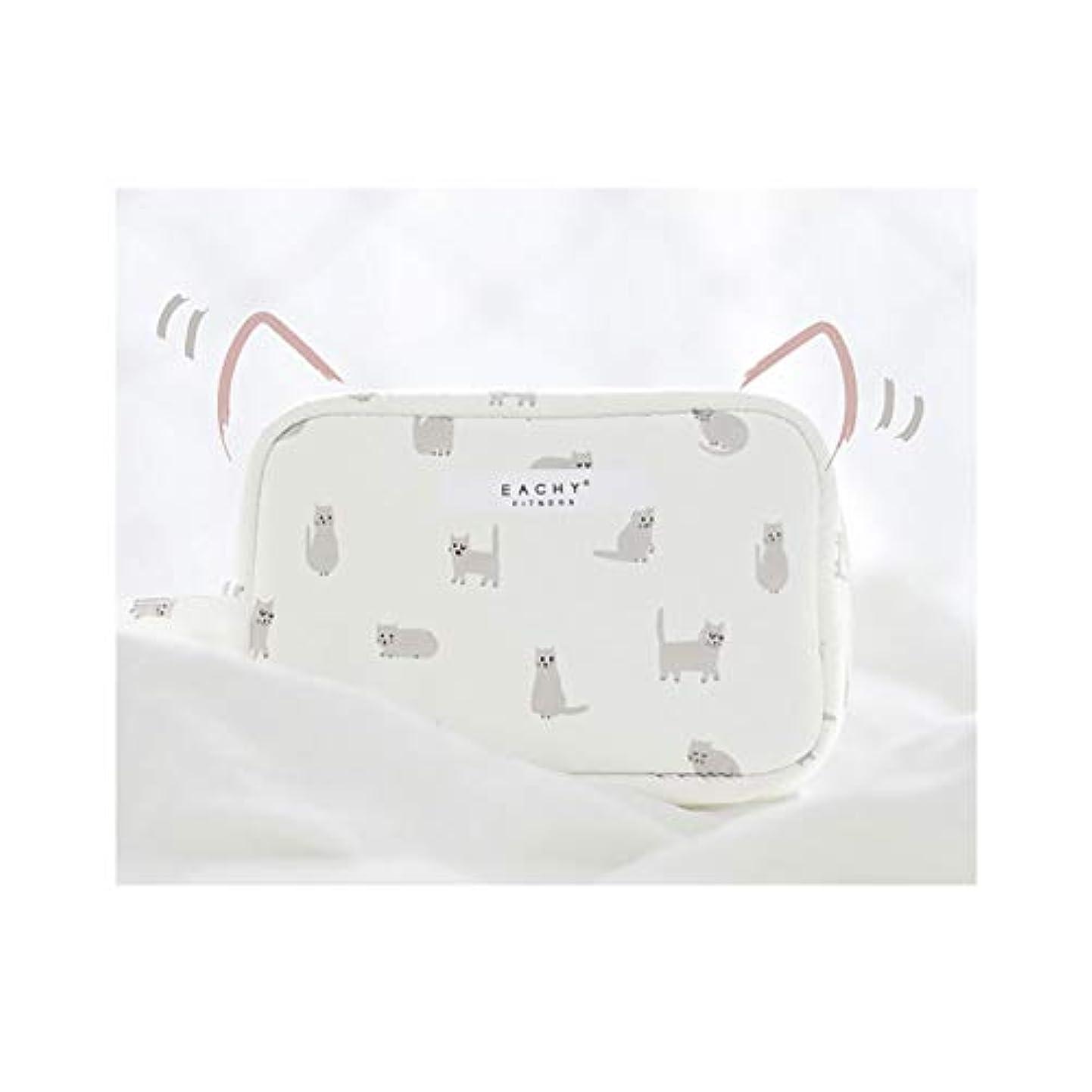 船外供給投げるNEOVIVA 化粧ポーチ コスメポーチ メイク収納バッグ かわいい 軽量 防水 旅行小物ポーチ 猫 ホワイト S