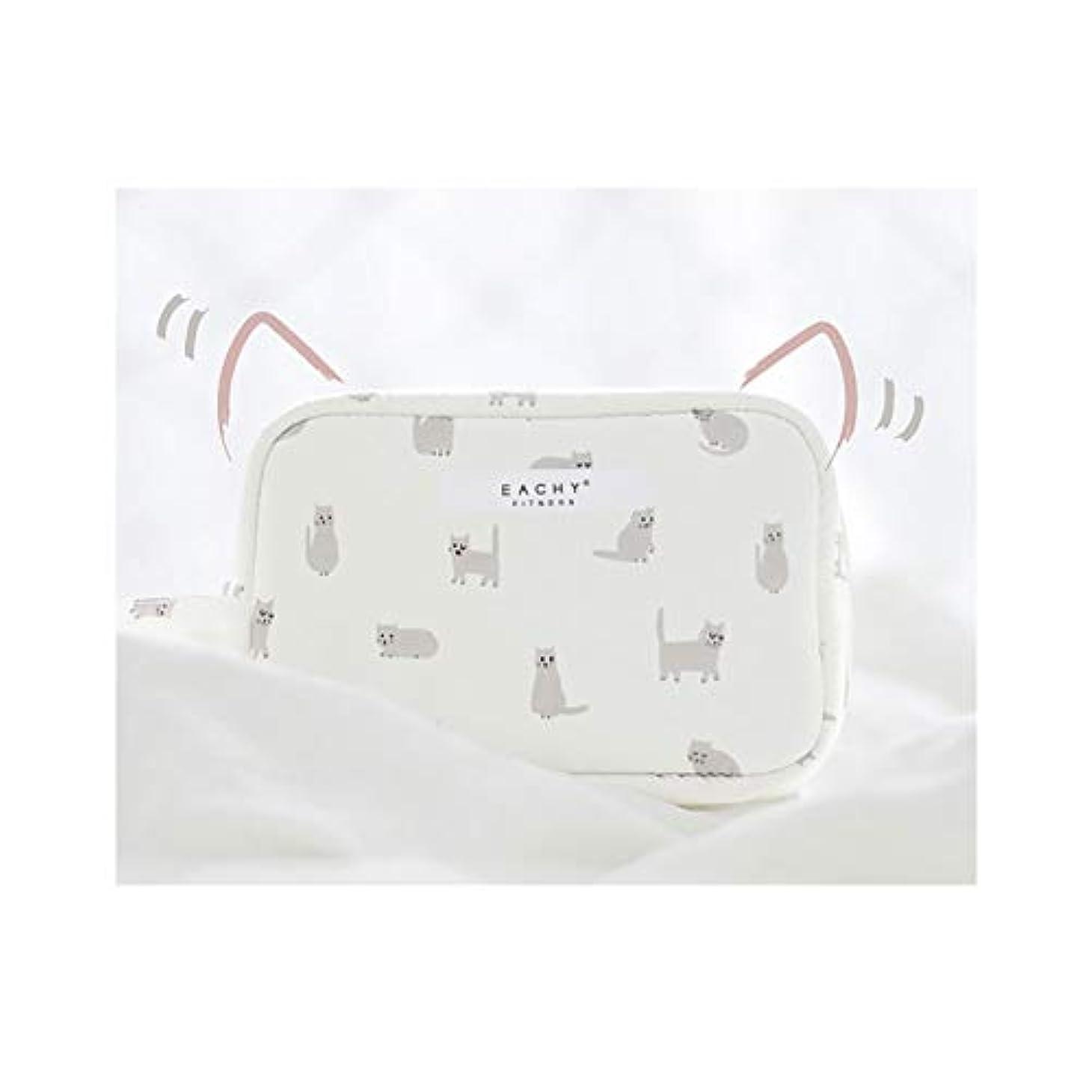 扇動する初期の時期尚早NEOVIVA 化粧ポーチ コスメポーチ メイク収納バッグ かわいい 軽量 防水 旅行小物ポーチ 猫 ホワイト S