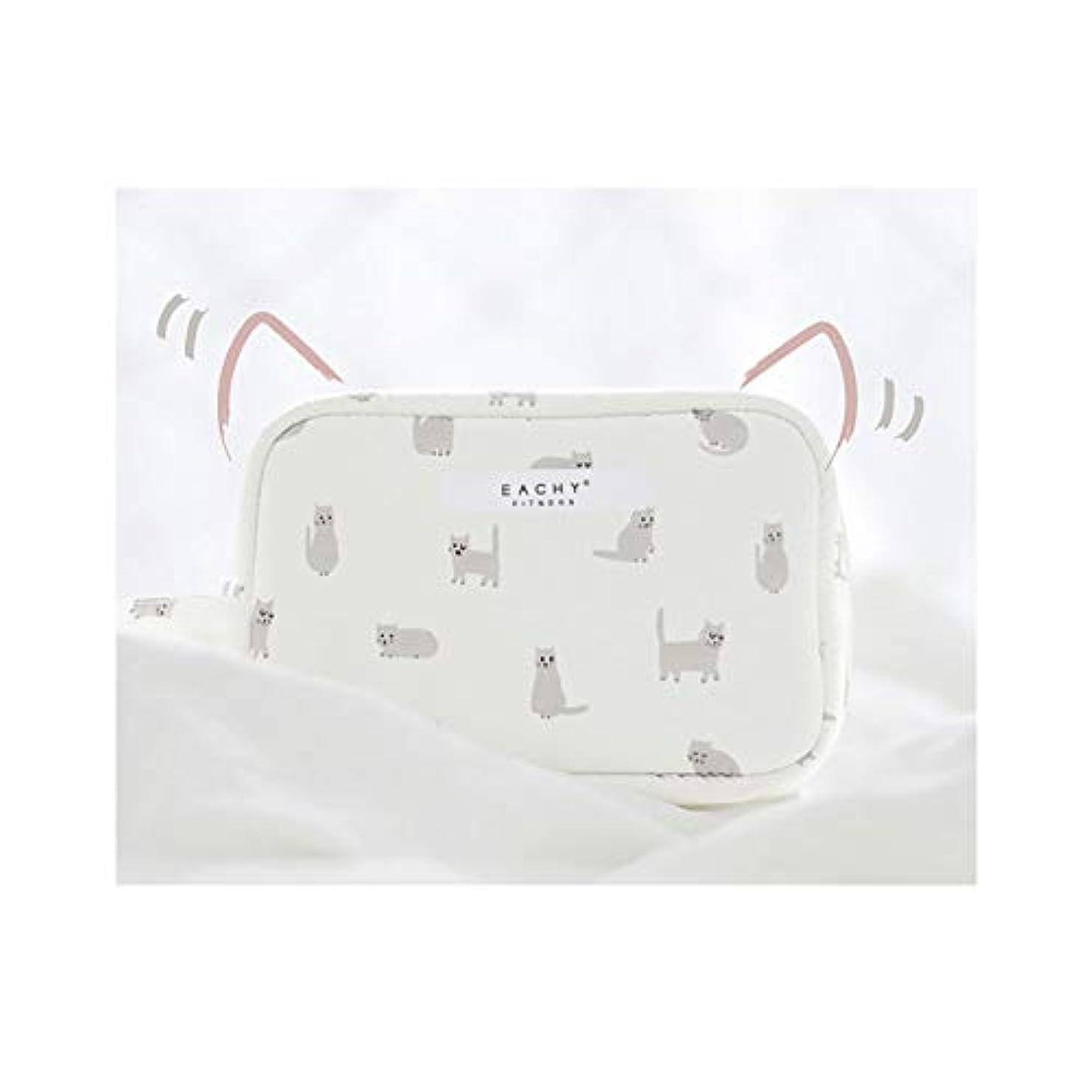 旧正月赤字トラクターNEOVIVA 化粧ポーチ コスメポーチ メイク収納バッグ かわいい 軽量 防水 旅行小物ポーチ 猫 ホワイト S