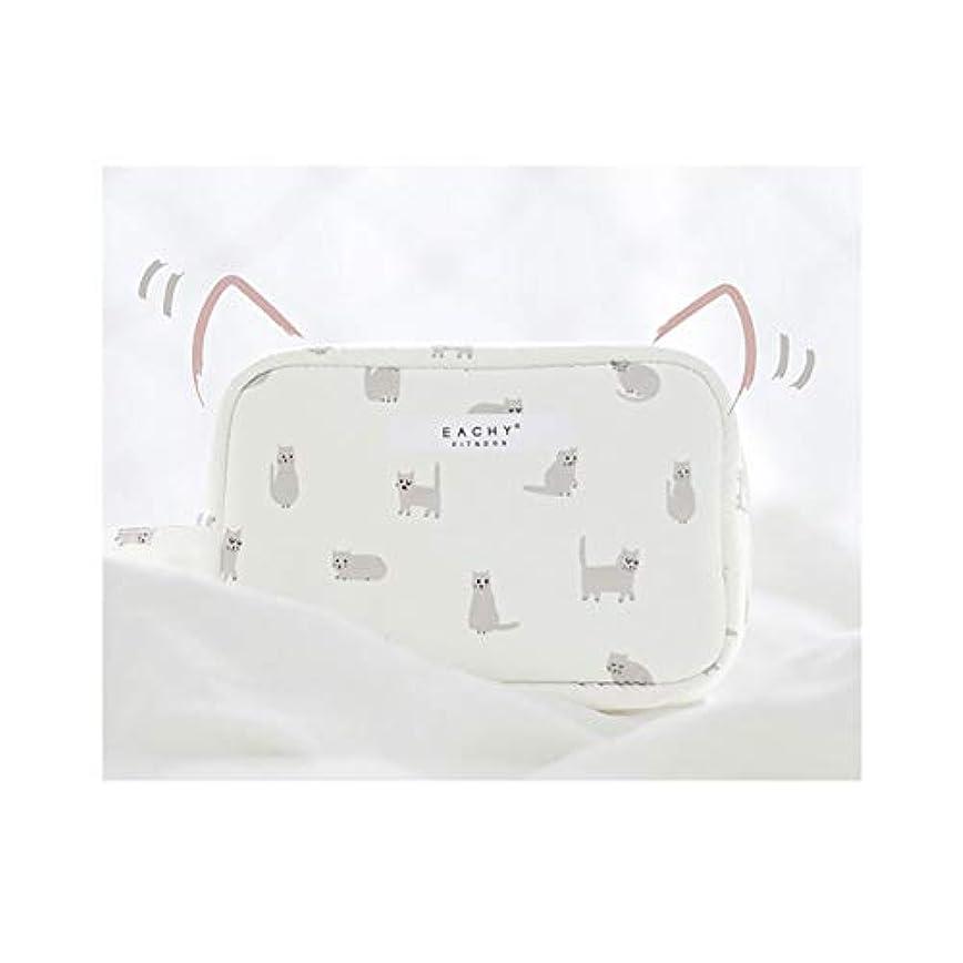 不潔嫌がらせ富NEOVIVA 化粧ポーチ コスメポーチ メイク収納バッグ かわいい 軽量 防水 旅行小物ポーチ 猫 ホワイト S