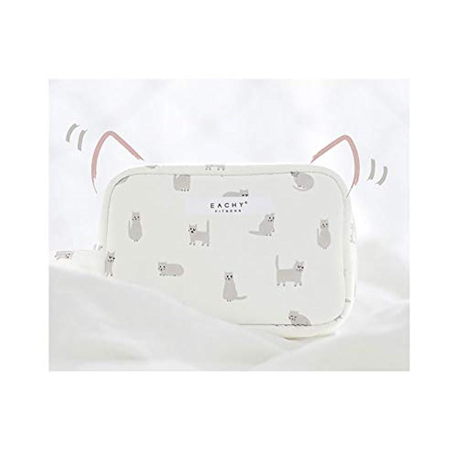 海外ライブフォアマンNEOVIVA 化粧ポーチ コスメポーチ メイク収納バッグ かわいい 軽量 防水 旅行小物ポーチ 猫 ホワイト S
