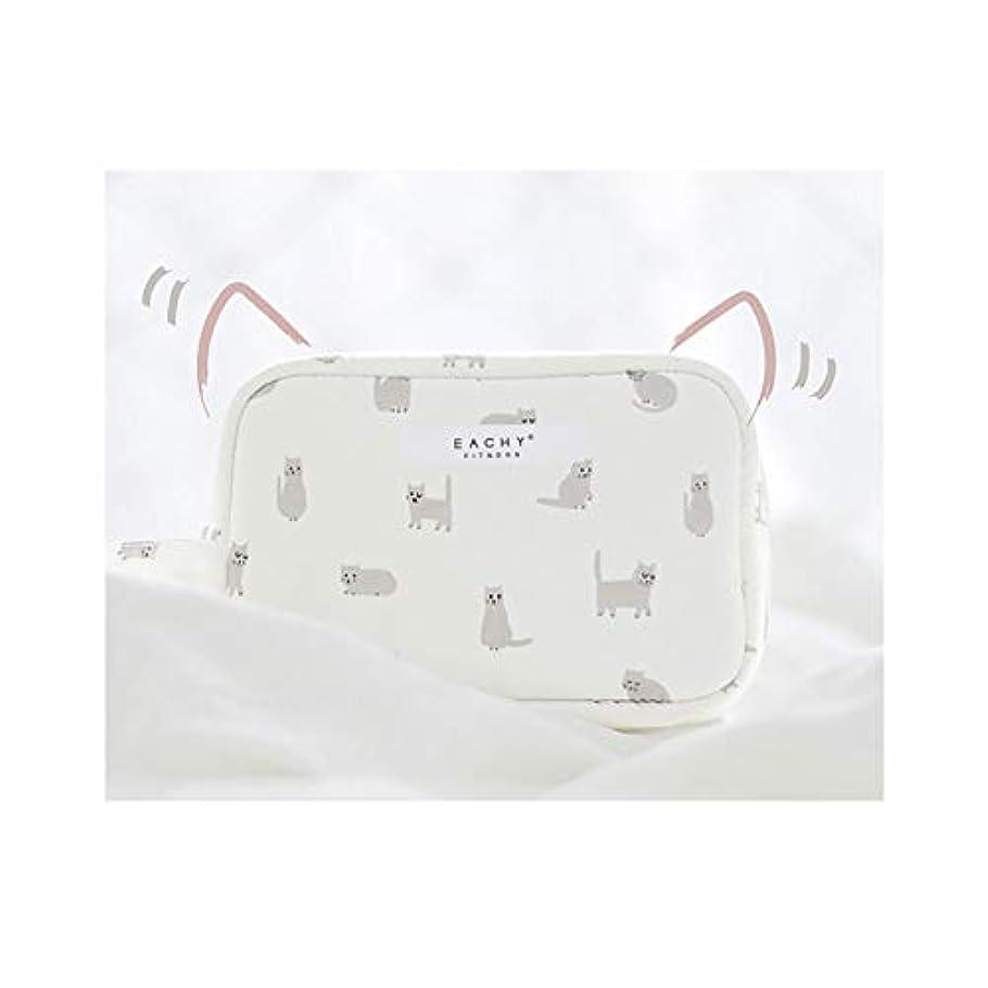 節約する違法エイリアンNEOVIVA 化粧ポーチ コスメポーチ メイク収納バッグ かわいい 軽量 防水 旅行小物ポーチ 猫 ホワイト S