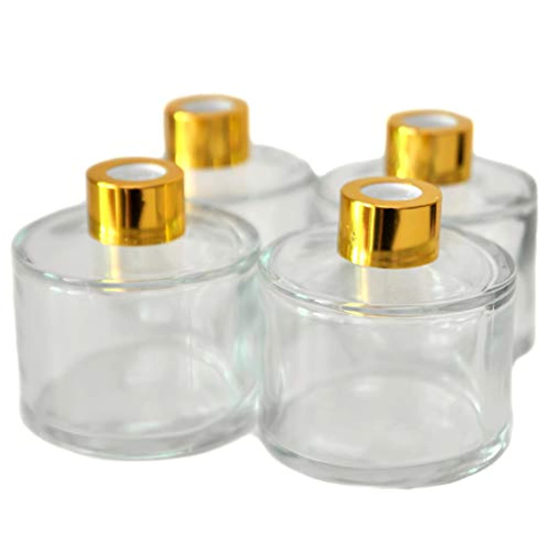 ラボ報復霜4本入円筒形のアロマ精油拡散ボトル、100mlオフィス、ショップ、ホームアロマガラスボトル