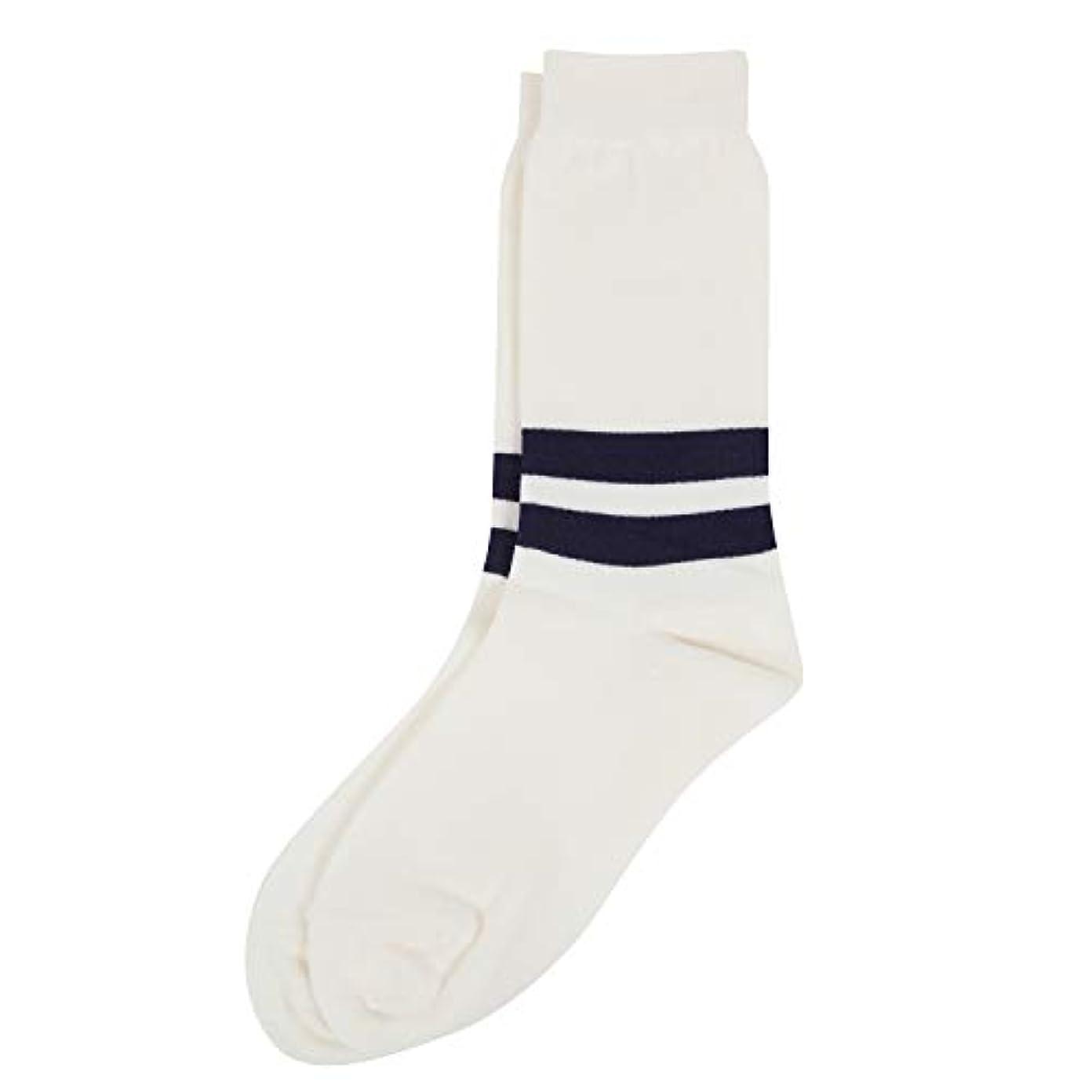 シエスタ死の顎体現するDeol(デオル) ラインソックス 男性用 メンズ [足のニオイ対策] 長期間持続 日本製 無地 靴下 白 25cm-27cm