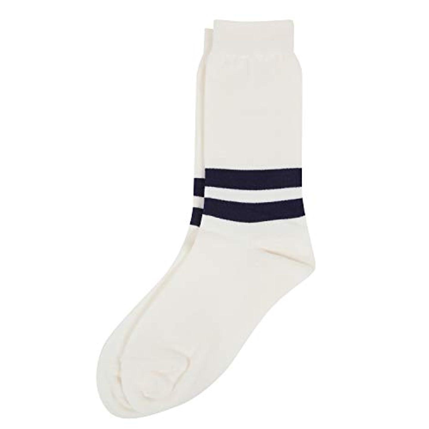 コードレス極貧ストレスDeol(デオル) ラインソックス 男性用 メンズ [足のニオイ対策] 長期間持続 日本製 無地 靴下 白 25cm-27cm
