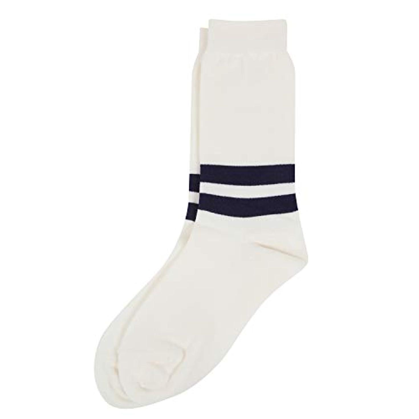 小麦信頼性換気するDeol(デオル) ラインソックス 男性用 メンズ [足のニオイ対策] 長期間持続 日本製 無地 靴下 白 25cm-27cm