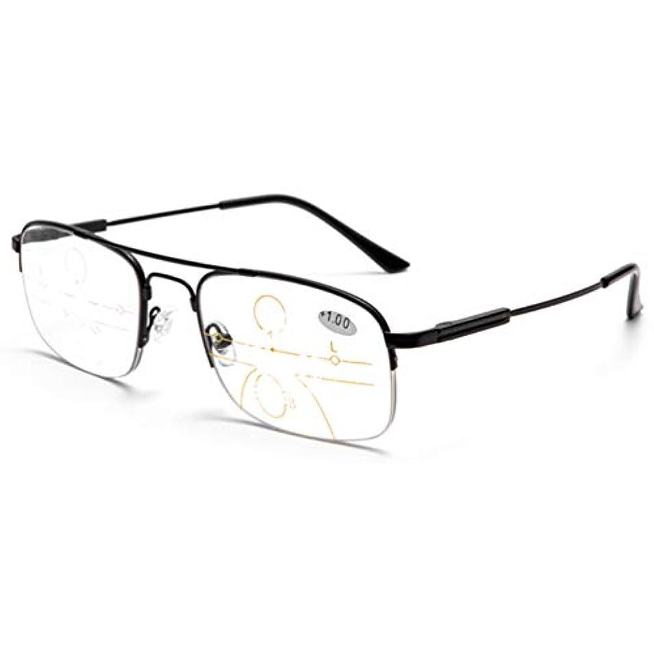 ドックポンペイテスピアンプログレッシブズーム老眼鏡、コンピュータの読者ステンレス鋼材料日曜日の読者、遠いおよび二重用途の老眼鏡 - 男性と女性用