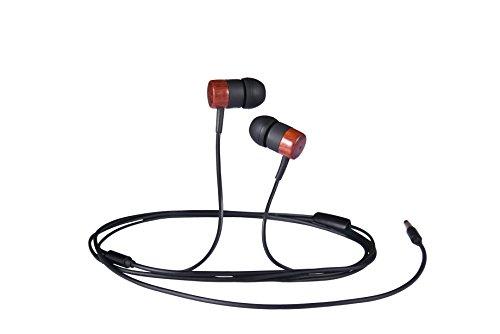 ASITA 純天然木製イヤホン カナル型 マイク付 ステレオイヤホン スポーツ イヤホン 高音質 重低音 HIFI 耳に心地よい式イヤホン 高遮音性 iphone対応 android対応 (マルーン)