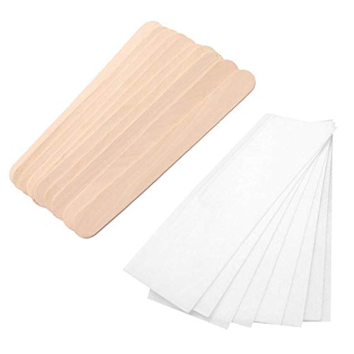 デッドロック幻想許可Migavann 100個木製ワックススティック 使い捨て木製ワックススティックへらアプリケーター 100個不織ワックスストリップ脱毛紙