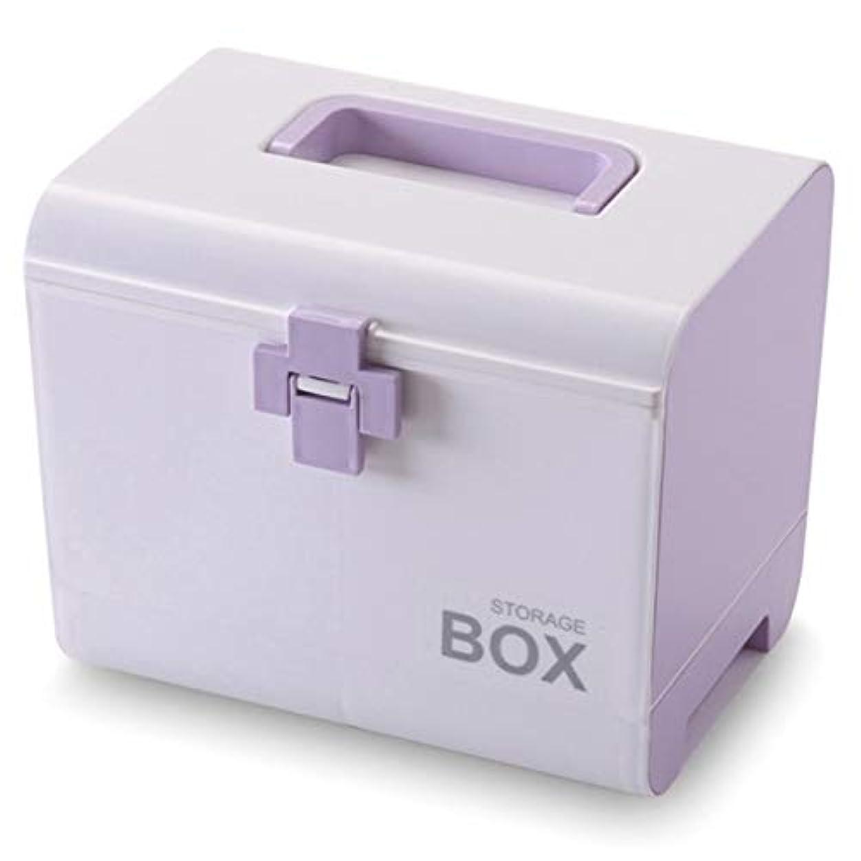 トーナメント苦い洪水ACAMPTAR 薬箱応急処置ボックス 収納ボックス プラスチック容器応急処置ボックス ポータブル多層大容量収納収納ボックス パープル