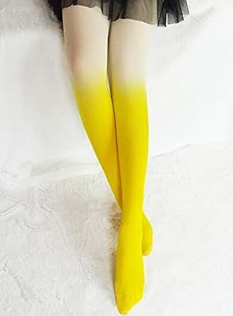 SOLAI ストッキング おしゃれ グラデーション レディース 靴下 タイツ (イエロー)