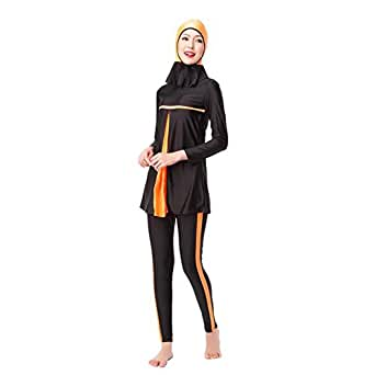 Hzjundasi Muslim 女性 長袖 Modest 夏 水着 イスラム教の アラブ フルカバー サンプロテクション Burkini Beachwear Malaysia Attached ヒジャーブ キャップ Swimwear