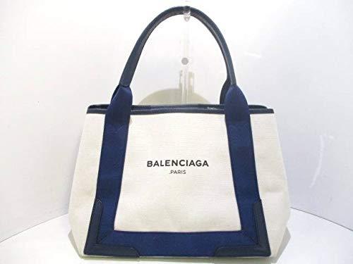 (バレンシアガ) BALENCIAGA トートバッグ ネイビーカバS アイボリー×ネイビー 339933 【中古】