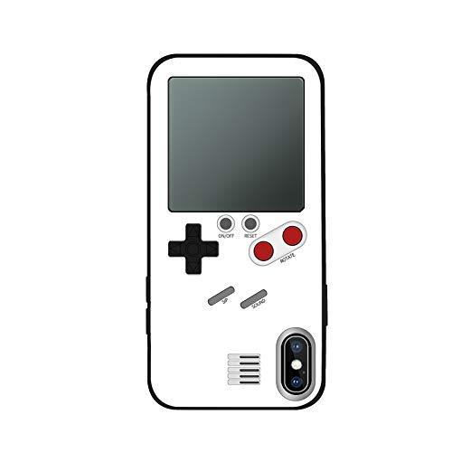 日本語説明書付き ゲームボーイ 風 iPhone ケース 実際に遊べるレトロゲームを多数内蔵 テトリス バトルシティー シューティング フロッガー インベーダー ビデオゲーム 液晶 ドットゲーム レトロ スマホケース スマートフォン (iphoneX,Xs, ホワイト)
