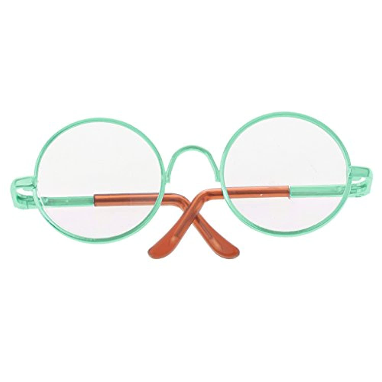 【ノーブランド品】1/6ブライス人形用 かわいい 丸型フレーム クリアレンズ メガネ 眼鏡 - 緑