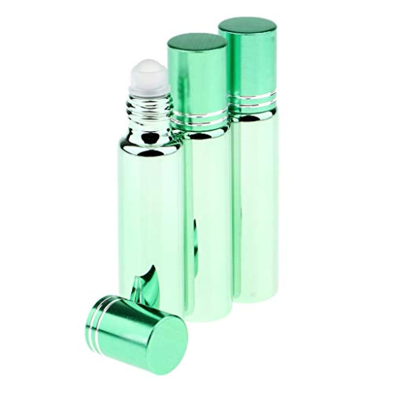 ヘロイン発表するマウントバンク3個 空 詰め替え式容器 精油ボトル ローラーボトル 携帯用 旅行小物 出張 お泊まり用 全5色 - 緑