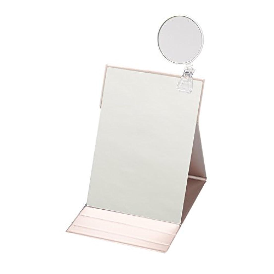 ウガンダいつも手ナピュアミラー 3倍拡大鏡付きプロモデル折立ナピュアミラーLL ピンクゴールド HP-38×3