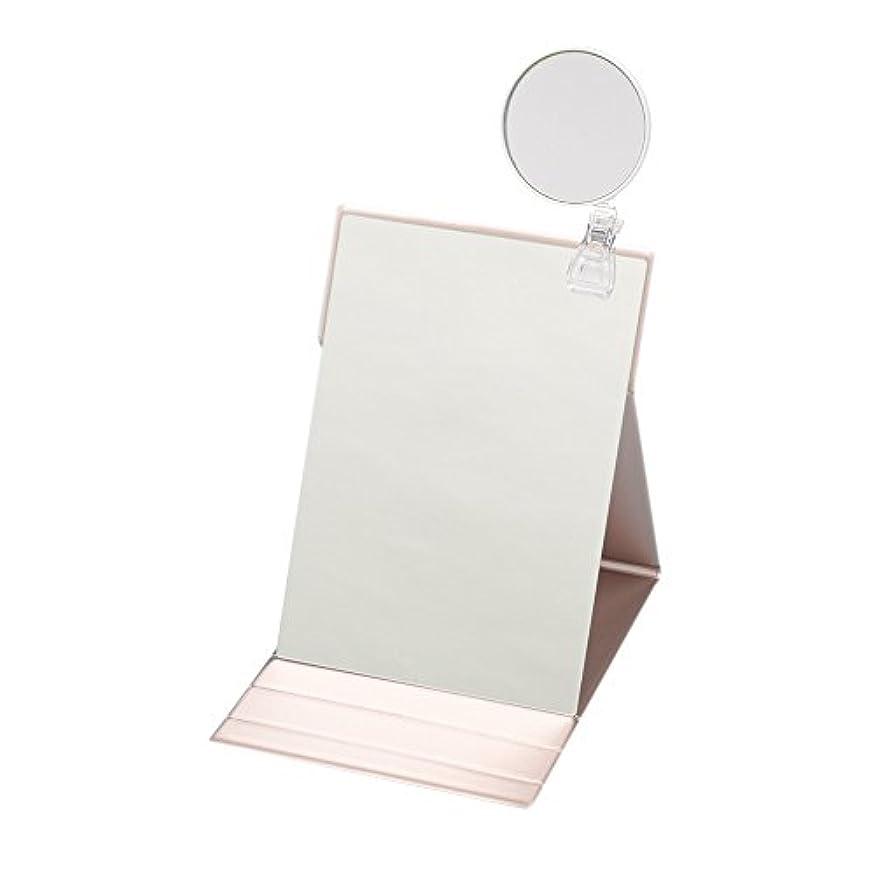 置き場ストレス韻ナピュアミラー 3倍拡大鏡付きプロモデル折立ナピュアミラーLL ピンクゴールド HP-38×3