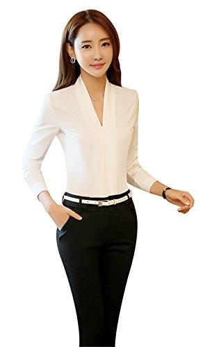 (ディエスーラグジュアリー)DS-Luxury レディース シャツ ブラウス ワイシャツ 就職活動 通勤OL ディープ Vネック 制服 長袖 オフィス 通気性 ホワイト M