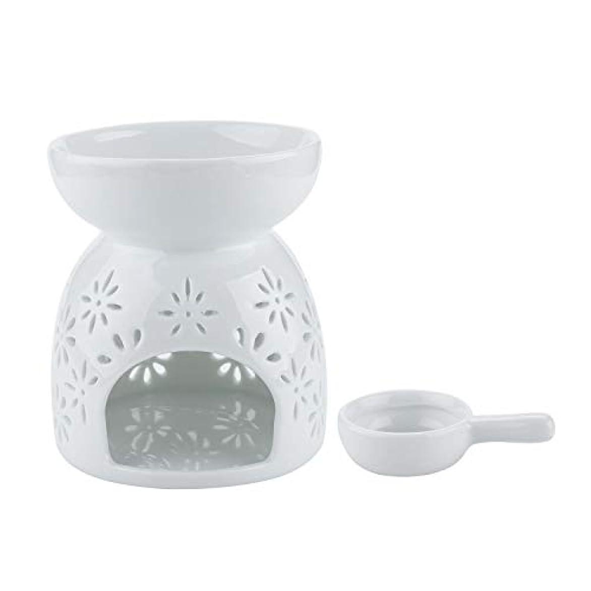 不足偽善者おとこRachel's Choice 陶製 アロマ ランプ ディフューザー アロマキャンドル キャンドルホルダー 花形 ホワイト