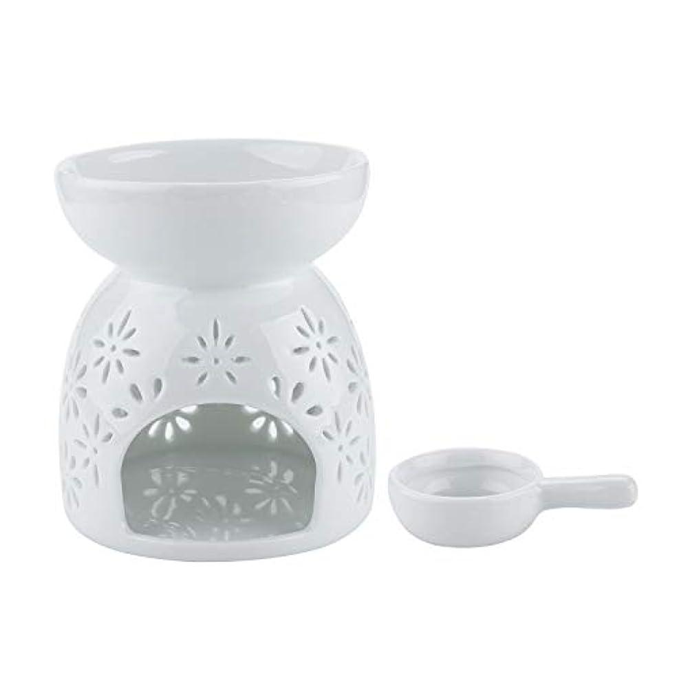 逸脱所持火炎Rachel's Choice 陶製 アロマ ランプ ディフューザー アロマキャンドル キャンドルホルダー 花形 ホワイト