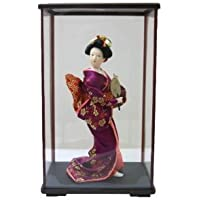 日本人形ケース入り 9インチ No.9-B 扇子 9inch Japanese Doll in Acrylic Case, Geisha Girl with Fan in carton box