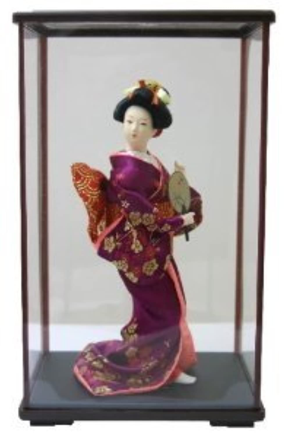 日本人形ケース入り 9インチ No.9-B 扇子 9inch Japanese Doll in Acrylic Case, Geisha Girl with Fan in carton box