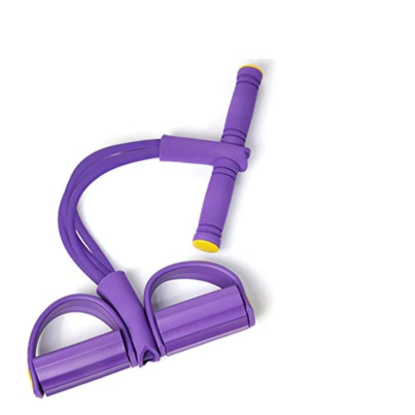 いらいらする受信機押し下げる抵抗バンド装置シットアッププラー、減量ウエスト腹部ヨガトレーニング整形練習腕/脚/肩/腹部オフィスエクササイズ,Purple