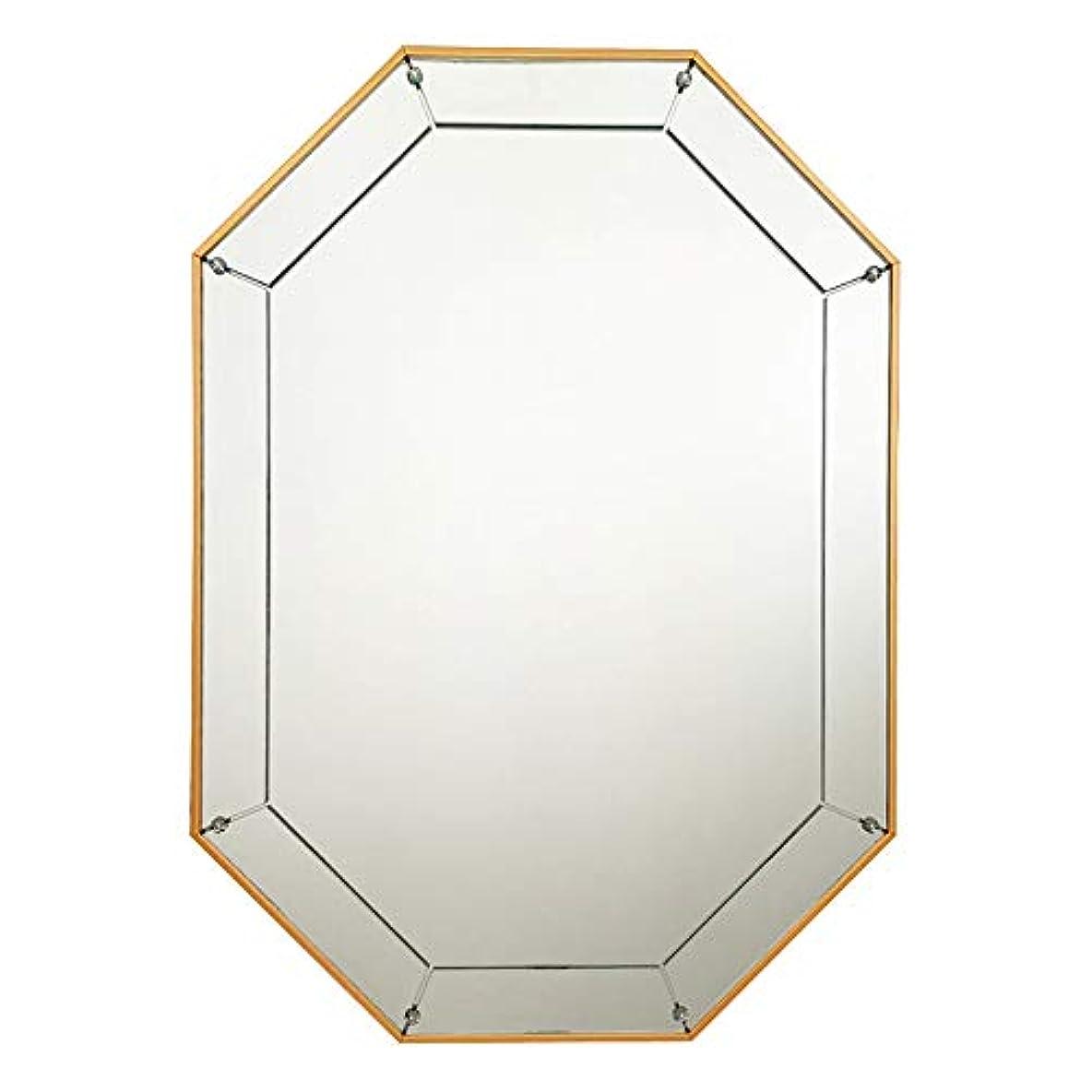 ウォールマウントメイクアップミラー、ノルディッククリエイティブオクタゴン起毛フレーム壁掛けミラードレッサーミラー装飾玄関リビングルームのバスルーム,金