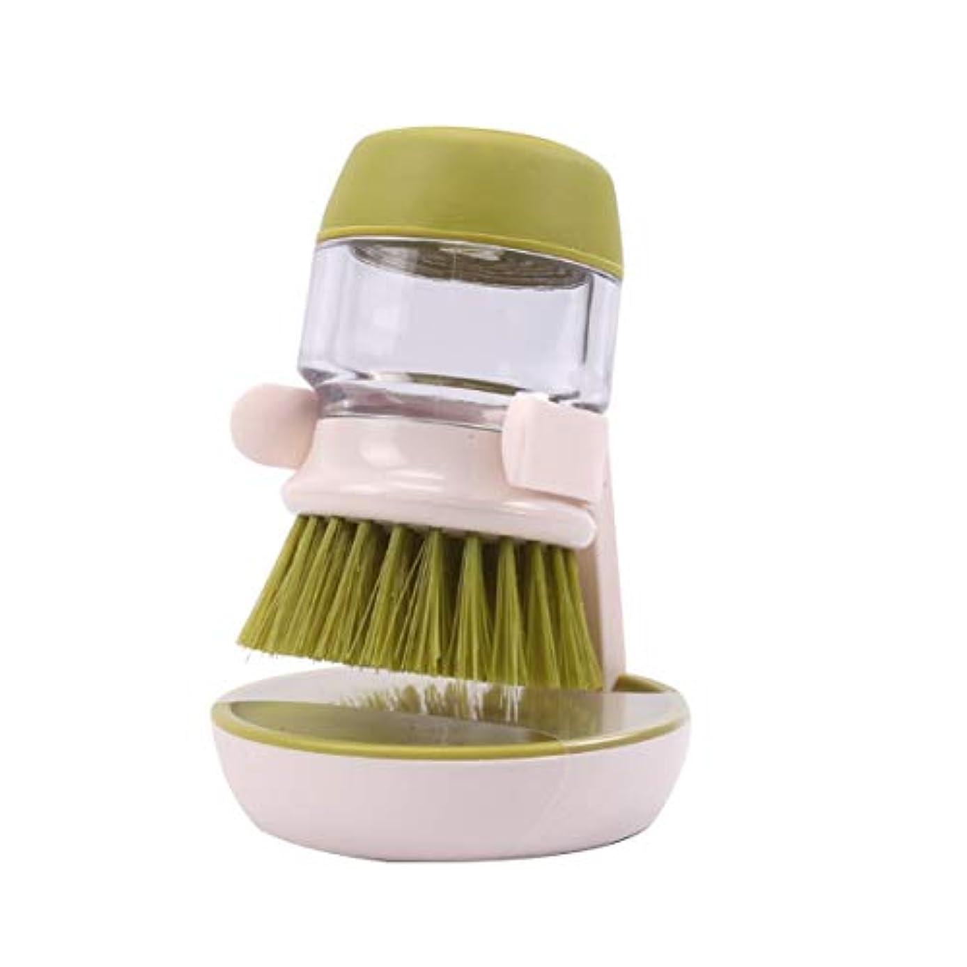 主張する志す感嘆符クリーニングブラシ自動液体洗浄皿ブラシパンポットボウルブラシキッチンクリーニングツールベース付きスクラバー-緑