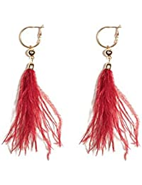 Red Gold Tone Feather Statement Drop Earrings