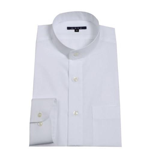 (オジエ) ozie 〔00020005〕【ワイシャツ・カッターシャツ】 レギュラーフィット・スタンドカラー・綿100%形態安定・無地・ホワイト白・日本製