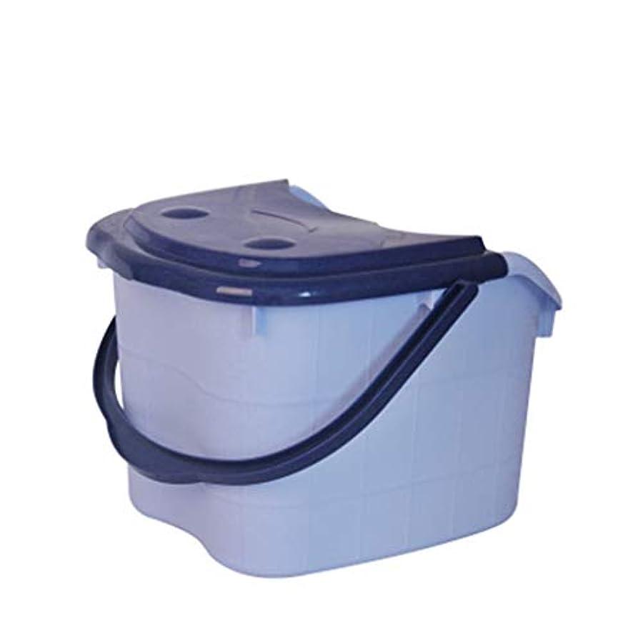 お誕生日繁栄感情BB- ?AMT高さ特大マッサージ浴槽ポータブルふた付きフットバスバケット熱保存デトックススパボウル 0405 (色 : 青, サイズ さいず : 39*35*29cm)