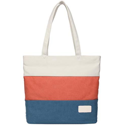 STARWARE(スターウェア) 3colorボーダートートバッグ 仕切りポケット レディース メンズ 学生 男女両用 大容量 キャンバス ショルダー ハンドバッグ (白オレンジ青)