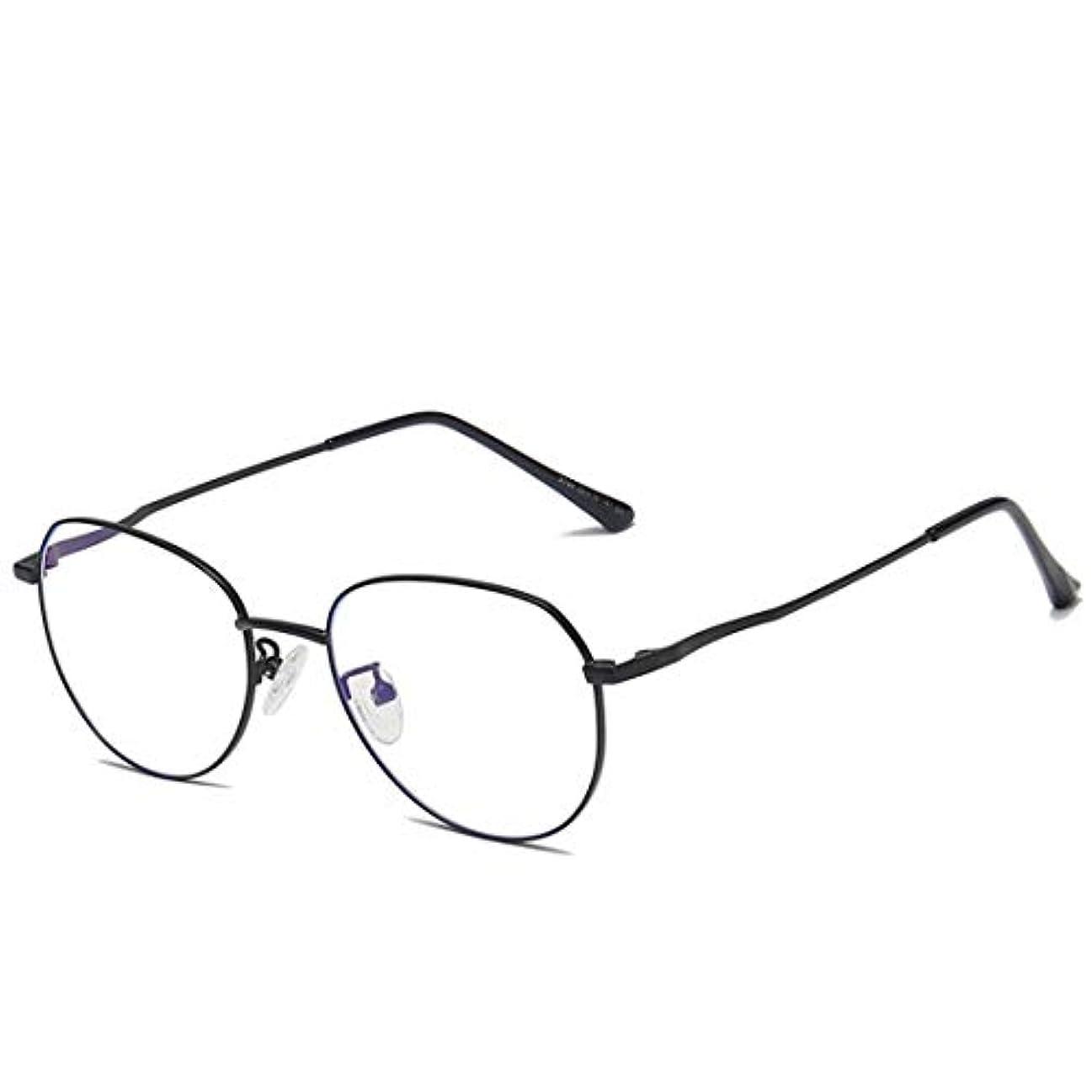 明らかにする気味の悪い聖職者Summerys 女性の男性のためのラウンドフレームメタルアンチブルーメガネブルーライトブロッキングメガネ (Color : Black)