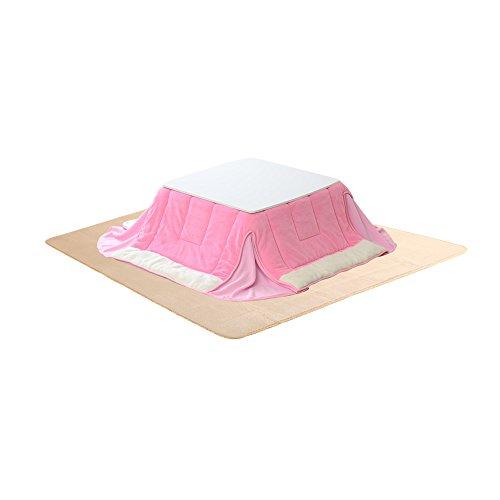 おしゃれでかわいい ホワイトこたつテーブルとピンクこたつ布団とフランネルラグ(イエローベージュ)の3...