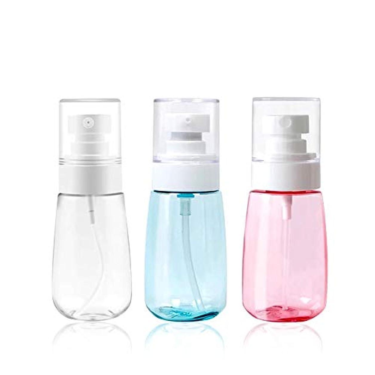 駐地理論的モーション3本入りエコPET製スプレーボルト 透明プラスチック化粧水用詰め替えボトル 旅行用の霧吹き アルコール消毒用小分け容器 アトマイザー (60ML 3色セット)