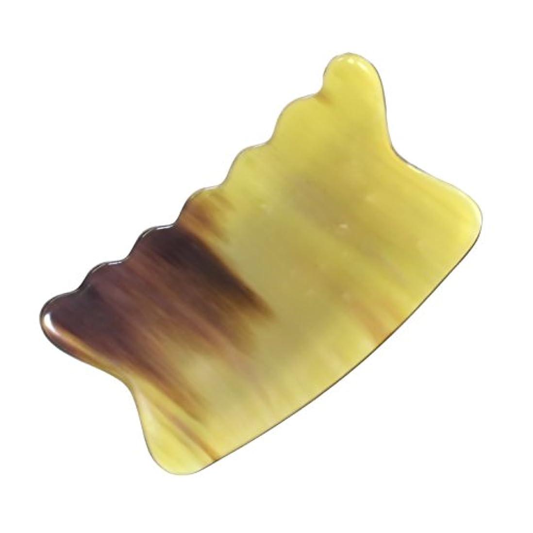 第二穿孔するモザイクかっさ プレート 希少61 黄水牛角 極美品 曲波型