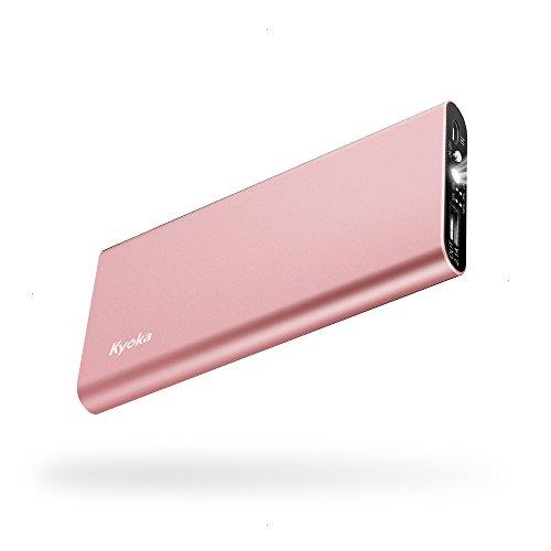 KYOKA 薄型 軽量 6000mAh モバイルバッテリー LEDライト付き 2.1A急速充電 iPhone/iPad/Android対応 (ローズゴールド.)