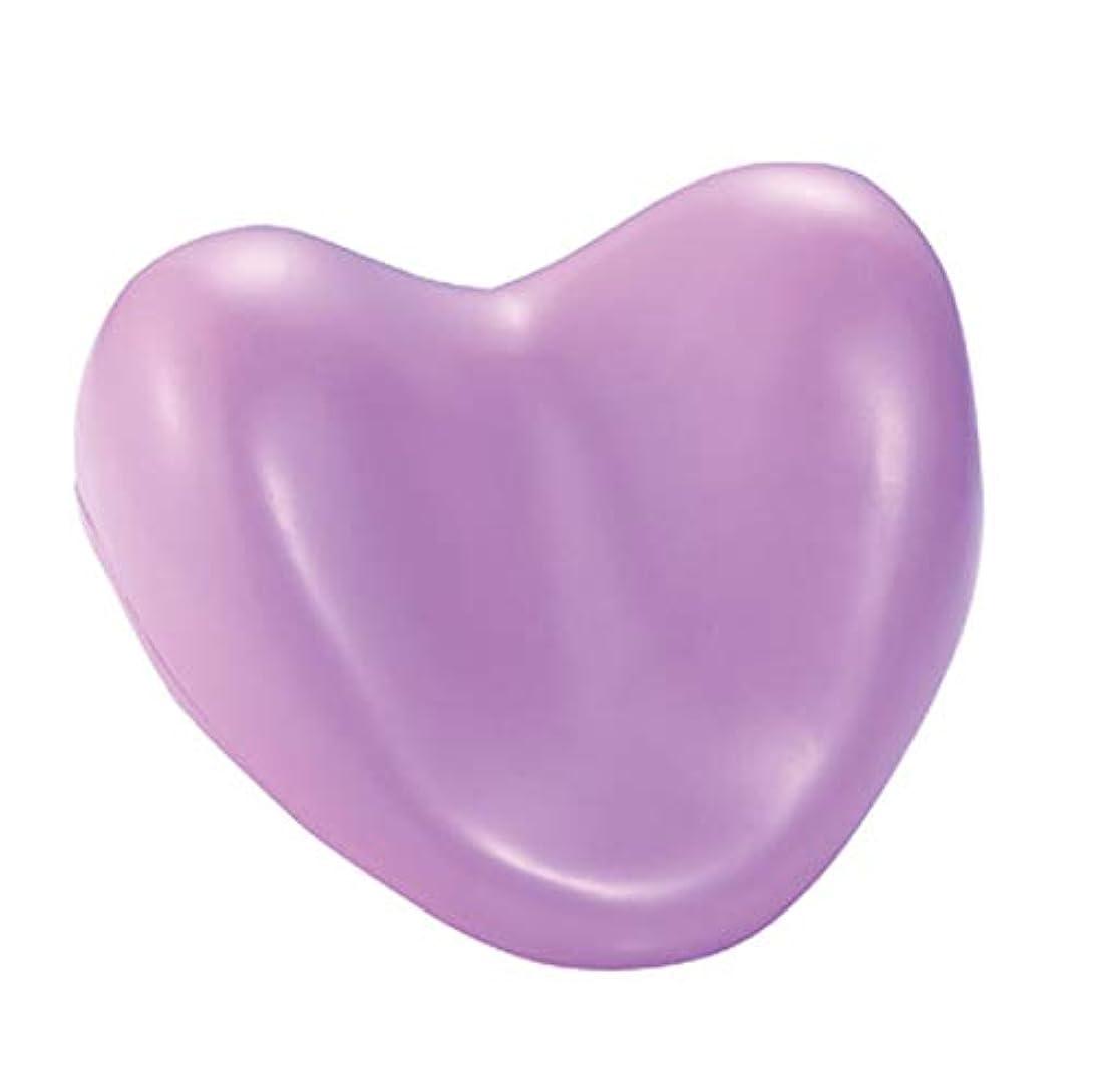 北極圏暗くする脅かすサクションカップ付きウェルネスバスピローハート型PUフォームサポート枕温水浴槽とスパ浴槽,Purple